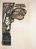 Poster: Britannia - women's suffrage reform, no taxation without representation: 20th century