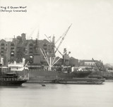 Thames Riverscape showing King and Queens Wharf (Bellamy's Granaries) 1937