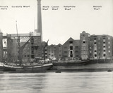 Thames Riverscape showing Prince's Stairs, Gordon's Wharf, Abbot's Wharf, Cannon Wharf, Rotherhithe Wharf and Mathew's Wharf : 1937