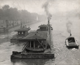 Towing Westminster Pier: 1949
