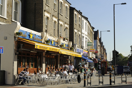Vibrant street scene in South London; 2009