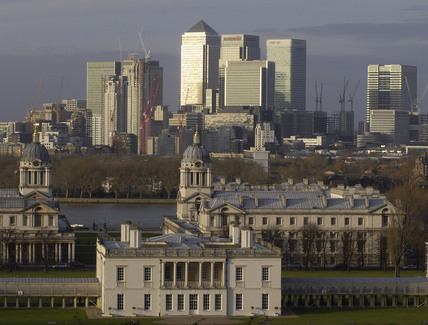 View across Greenwich Park to Canary Wharf; 2009