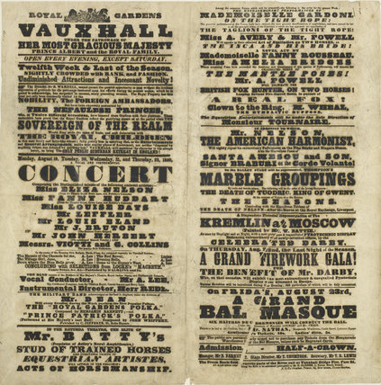 Poster of events at Royal Gardens Victoria; 1850