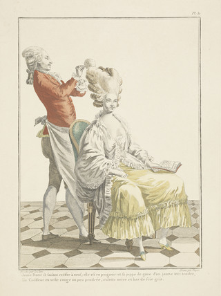 Coloured print of a woman sitting and a man standing;1778
