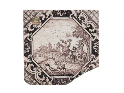 Tin-glazed earthenware wall tile: c. 1700-1750