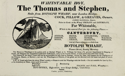 An advertisement for the ferry service to Whitstable Hoy; 1826