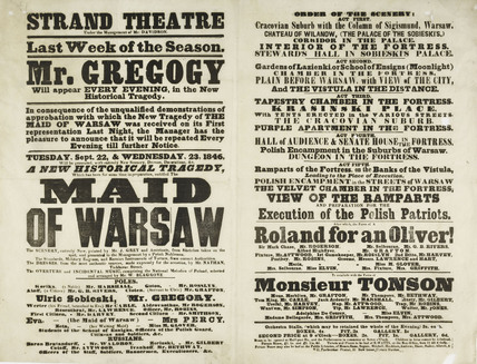 A poster for the Strand Theatre; 1846