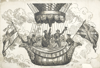 An illustration of a crowd ascending in a balloon; 2009