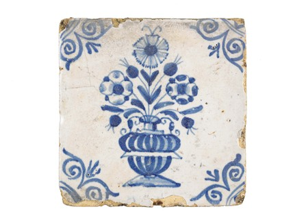 Tin-glazed earthenware tile: c.1618-1663