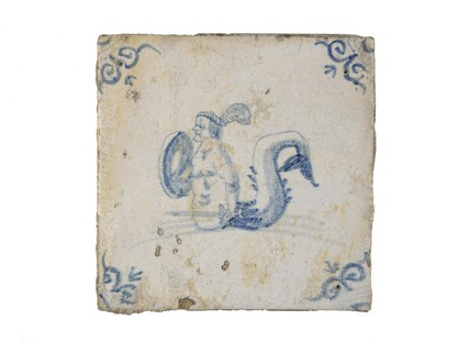 Tin-glazed earthenware tile: c. 1640-1680