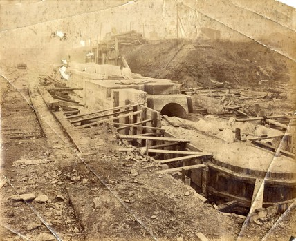 The entrance of a dry dock under construction at King George V Dock.