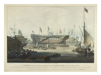 The Launch the East India Companys ship Edinburgh: 1827