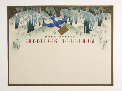 Greetings telegram  issued by the General Post Office, 1938