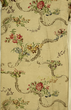 Detail of fabric from white, silk, mantua dress; 1746-1750