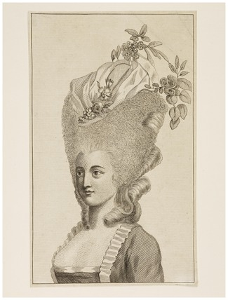 Print of a woman's head and shoulders: 1782