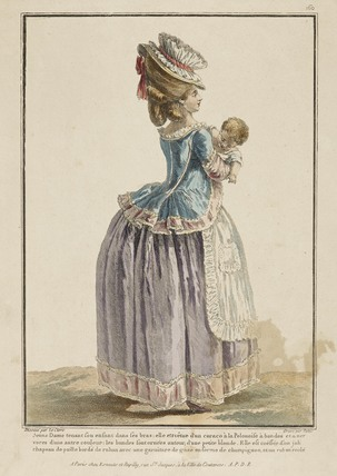 Coloured print of a woman holding a baby; 1779
