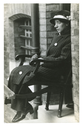Surveillance photograph of imprisoned suffragette Clara Lambert: c.1913
