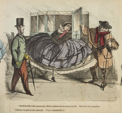 Crinoline, its difficulties and dangers: 1850