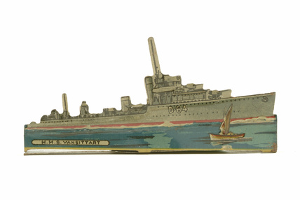 Tinplate silhouette warship, HMS Vansittar; 1914-1918
