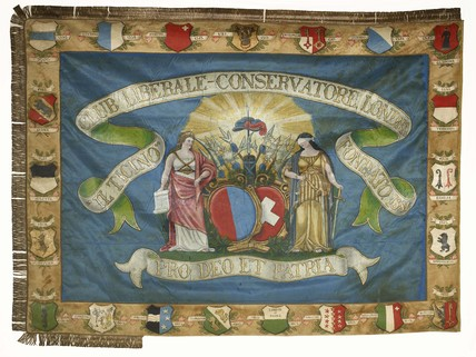 Painted silk banner made for the Il Ticino Liberal-Conservative Club in 1886