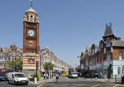 Crouch End clock tower and Topsfield Parade; 2009