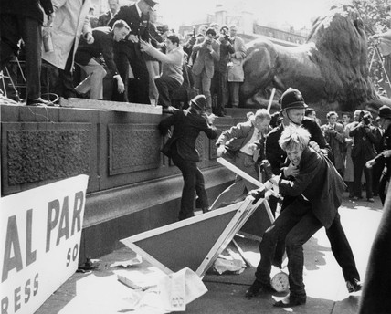Clashes at a Mosley riot in Trafalgar Square between supporters, protestors and police: c. 1960