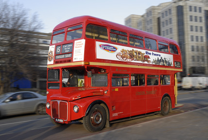 Routemaster bus with Museum of London Advert; 2010