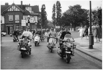 'Mods' on scooters; 1964