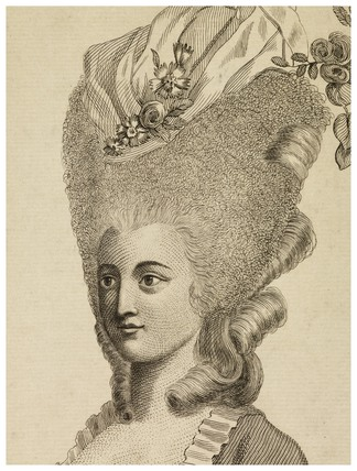 Print of a woman's head and shoulders. From Plocacosmos or the Whole Art on Hair Dressing, 1782.