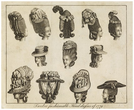 Twelve fashionable head dresses of 1779