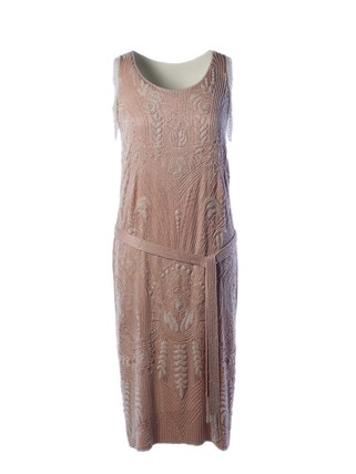 Pink silk crepe beaded evening dress and belt: 1925