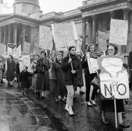 Womens' protest march in Trafalgar Square against hydrogen bomb testing; 1957