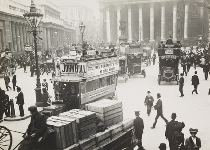 Busy street scene at Bank, c.1900