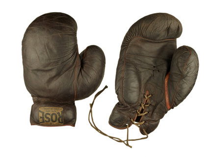 Pair of brown leather boxing gloves: c1935