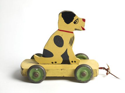Wooden pull along toy dog; 1945-1950