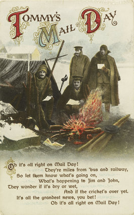 World War I Picture Postcard with coloured image of four soldiers
