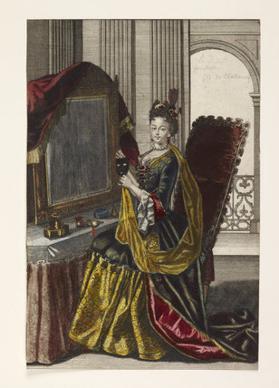 Print of a woman at her dressing table with a mask; 1694