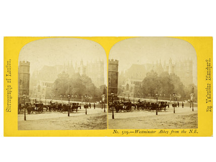 Stereo card view of Westminster Abbey from North East;