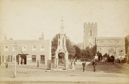 Market Place and St. Andrews Church, Enfield, c.1870.