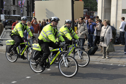 Policemen on bikes in the City of London; 2011