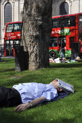 A man asleep by St. Pauls Cathedral; 2011