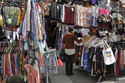A clothing stall on Portabello Road Market; 2011