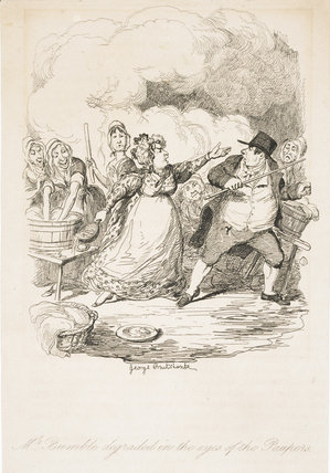 Mr Bumble degraded in the eyes of the paupers: 1838