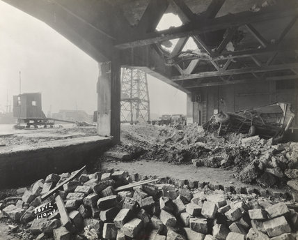 Air raid damage Royal Albert Dock 1940