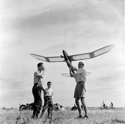 Model aeroplane club at the Fairlop Aerodrome; 1951