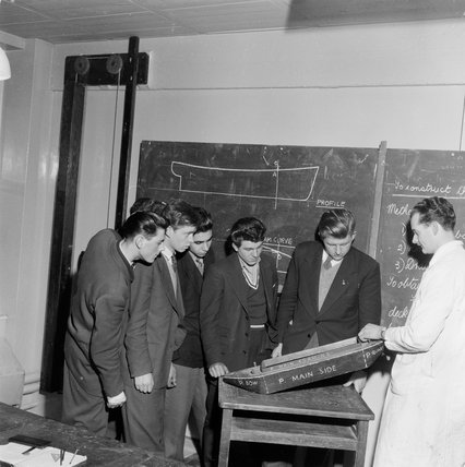 Barge Building course at Poplar Technical College; c1955