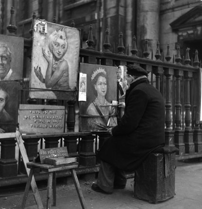 Street artist painting a picture of Queen Elizabeth II. c.1951
