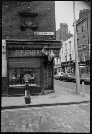 Corner of Sclater Street and Brick Lane: 1974
