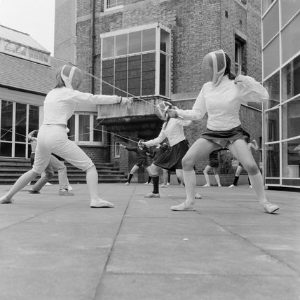 Students fencing at the Camden School for Girls; 1962