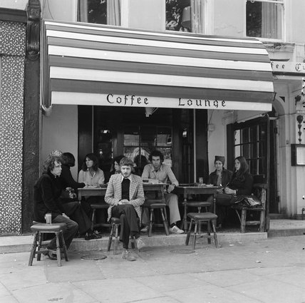 Exterior view of a The Coffee Cup. 1970